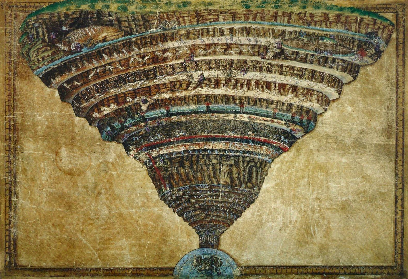 Сандро Боттичелли. Карта кругов ада. Между 1480 и 1490