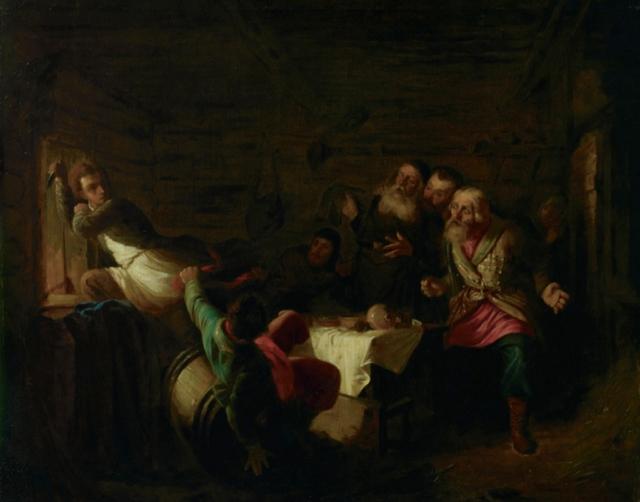 Григорий Мясоедов. Бегство Григория Отрепьева из корчмы на литовской границе. 1867