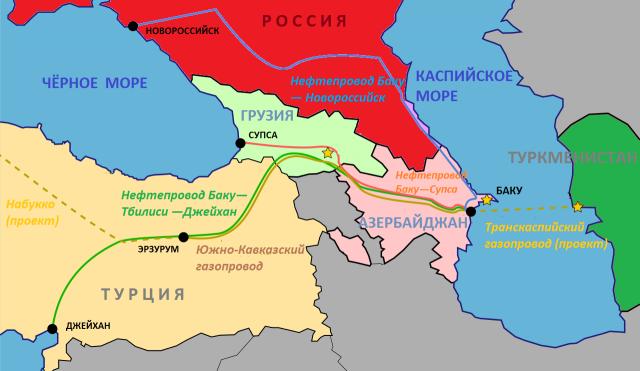 Карта существующих и планируемых нефте‑ и газопроводов из Баку