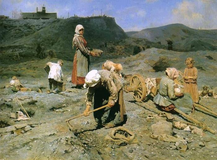 Николай Касаткин. Сбор угля бедными на выработанной шахте. 1894