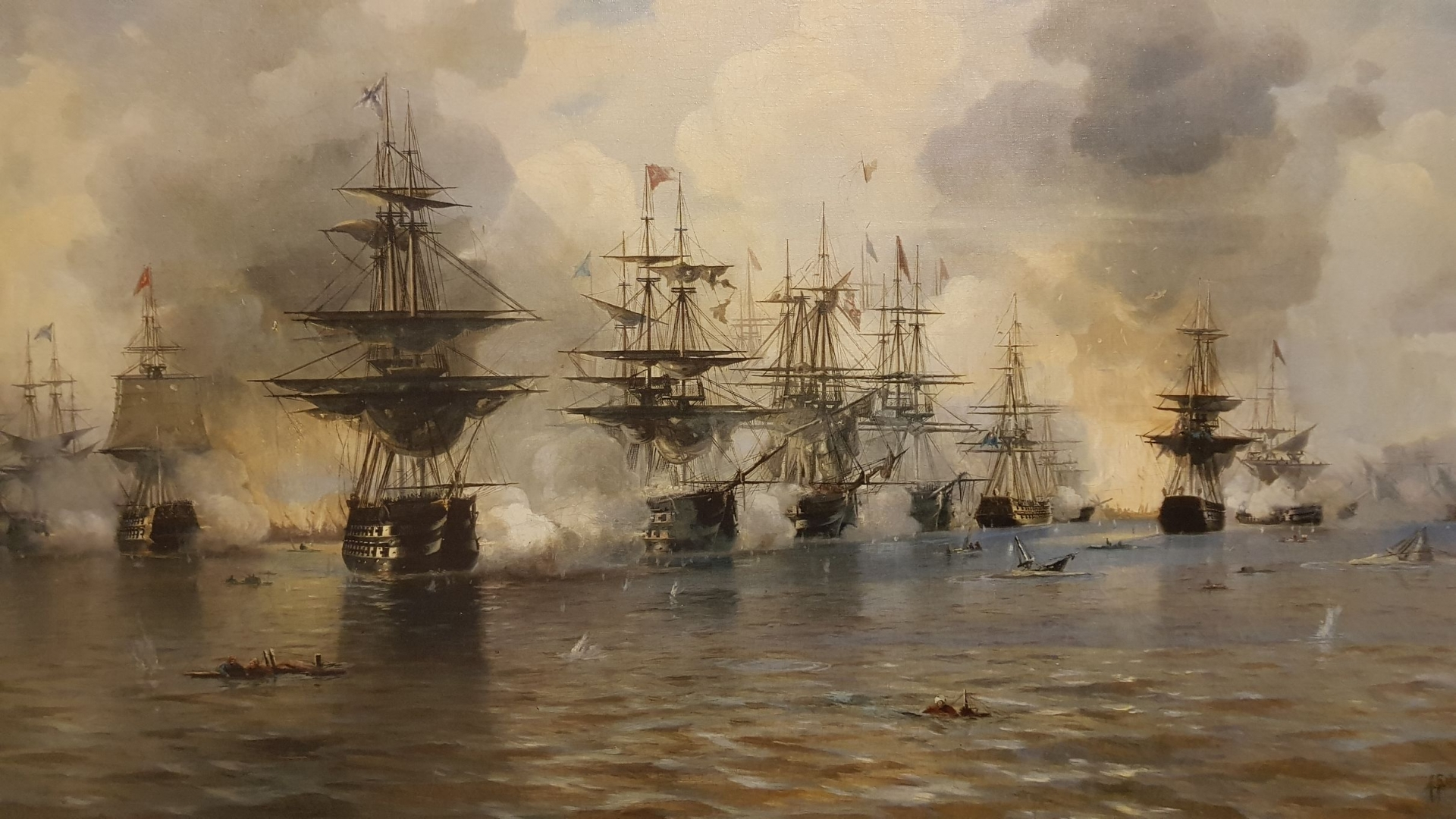 Наваринское сражение 1827 года с турецким флотом  в бухте Наварино Ионического моря