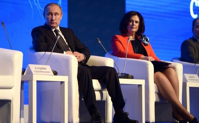Владимир Путин и Елена Дыбова на съезде ТПП РФ