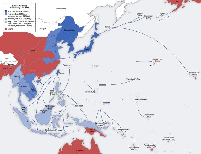 Синим и голубым показана наибольшая экспансия Японской империи к лету 1942 года