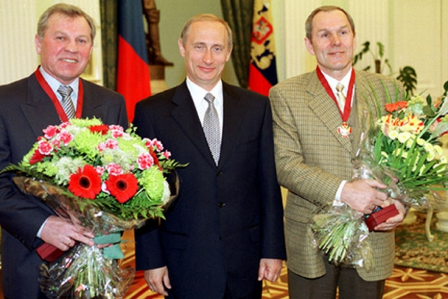 Борис Майоров (слева), Владимир Путин и Вячеслав Старшинов