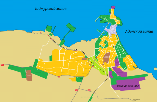 Карта окрестностей Джибути — столицы одноимённого государства