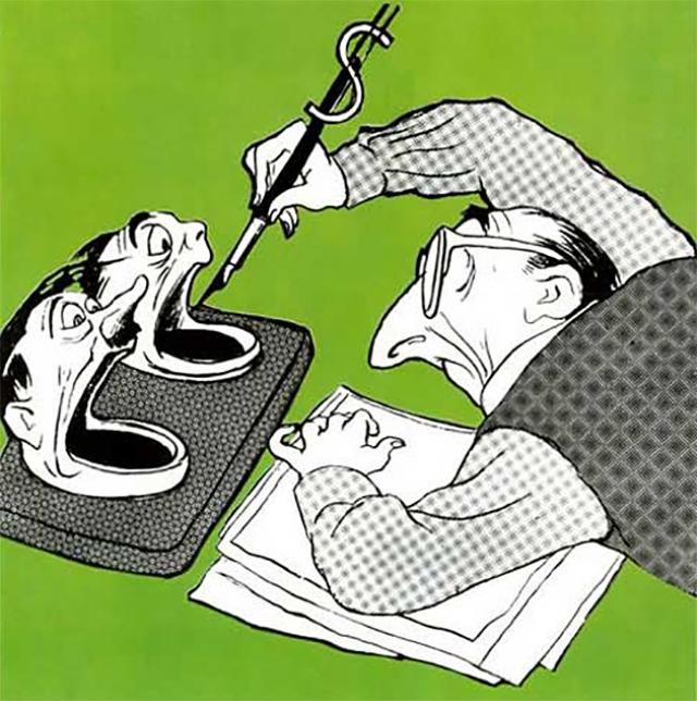 Кукрыниксы. Чернильный прибор заокеанского клеветника. 1957