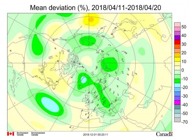 Рис. 2. Среднедекадные (11–20 апреля 2018 г.) аномалии общего содержания озона в Северном полушарии