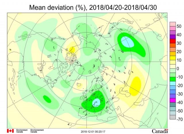Рис. 3. Среднедекадные (21–30 апреля 2018 г.) аномалии общего содержания озона в Северном полушарии