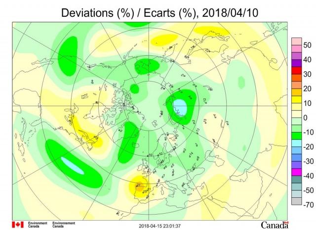 Рис. 5. Аномалии общего содержания озона 10 апреля 2018 г. в Северном полушарии