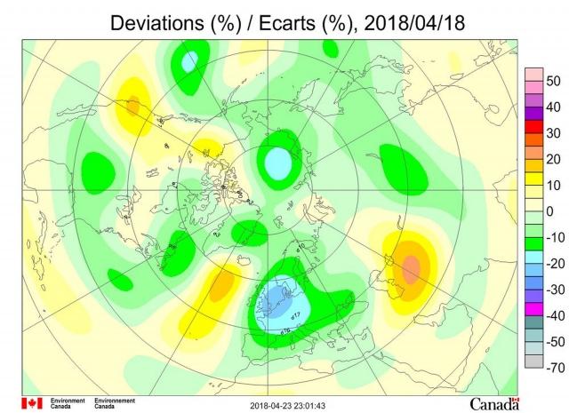 Рис. 7. Аномалии общего содержания озона 18 апреля 2018 г. в Северном полушарии
