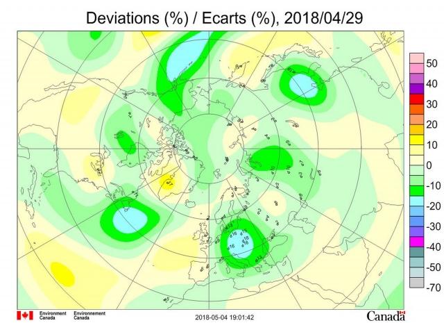 Рис. 6. Аномалии общего содержания озона 29 апреля 2018 г. в Северном полушарии