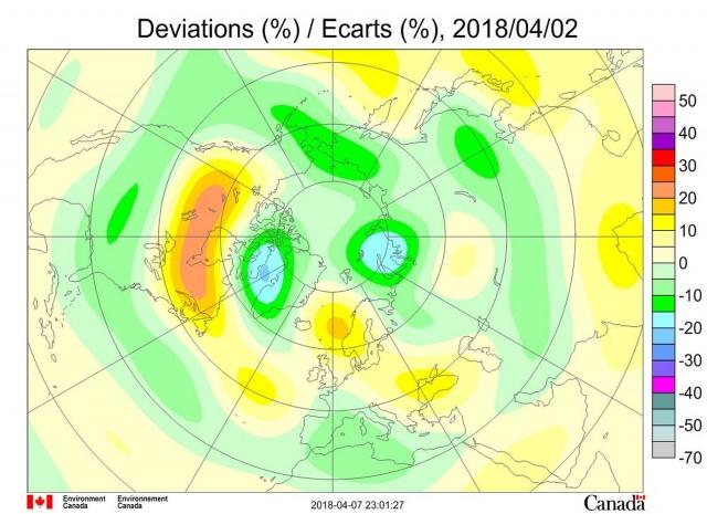 Рис. 9. Аномалии общего содержания озона 2 апреля 2018 г. в Северном полушарии