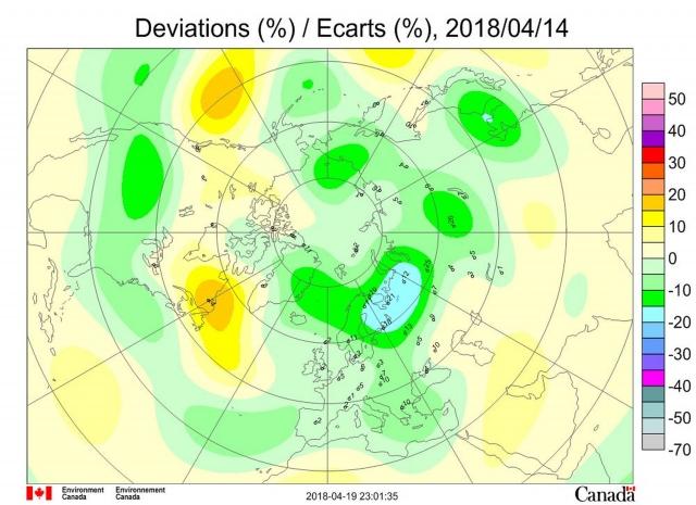 Рис. 10. Аномалии общего содержания озона 14 апреля 2018 г. в Северном полушарии