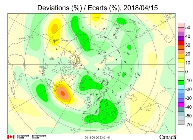 Рис. 11. Аномалии общего содержания озона 15 апреля 2018 г. в Северном полушарии