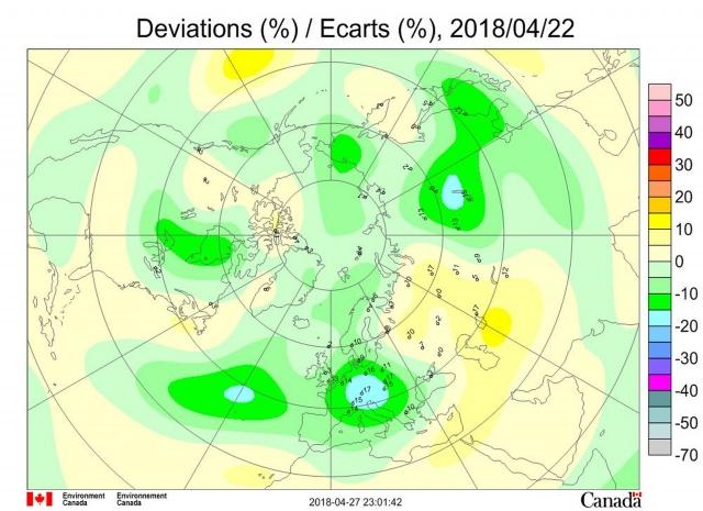 Рис. 13. Аномалии общего содержания озона 22 апреля 2018 г. в Северном полушарии