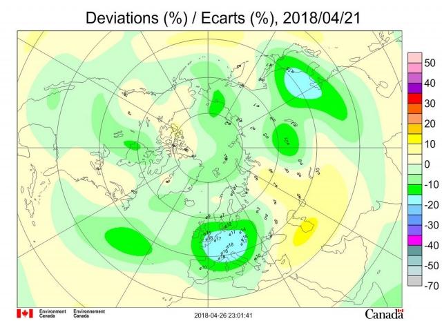 Рис. 12. Аномалии общего содержания озона 21 апреля 2018 г. в Северном полушарии