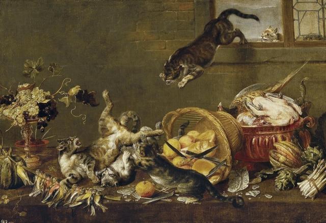 Пауль де Вос. Кошачий бой в кладовке. 1596