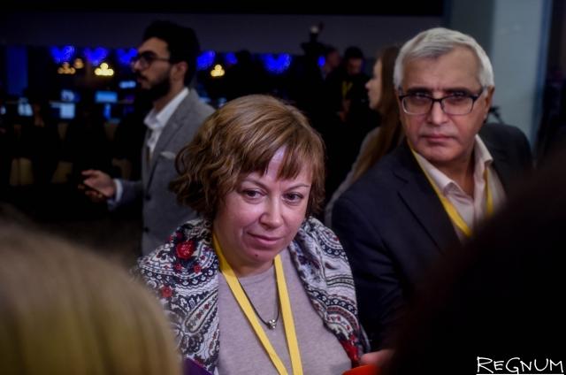 Алла Андреева на пресс-конференции Владимира Путина
