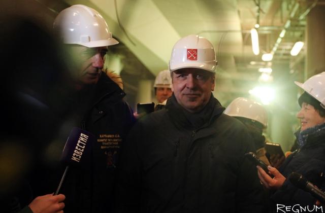 Игорь Албин на строящейся станции метро
