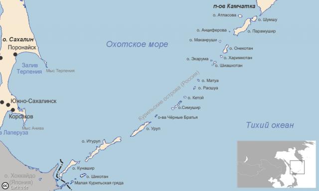 Острова Курильской гряды на карте