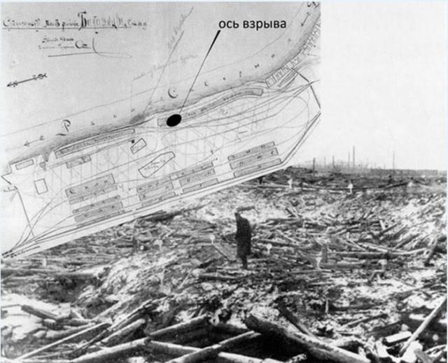 Место эпицентра взрыва 26 октября 1916 года в порту Бакарица и его последствия