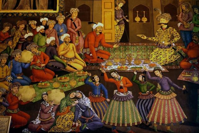 Шах Аббас I принимает Вали Мухаммад-хана. ок. 1650 г. Фреска во дворце Чихиль Сутун, Исфахан
