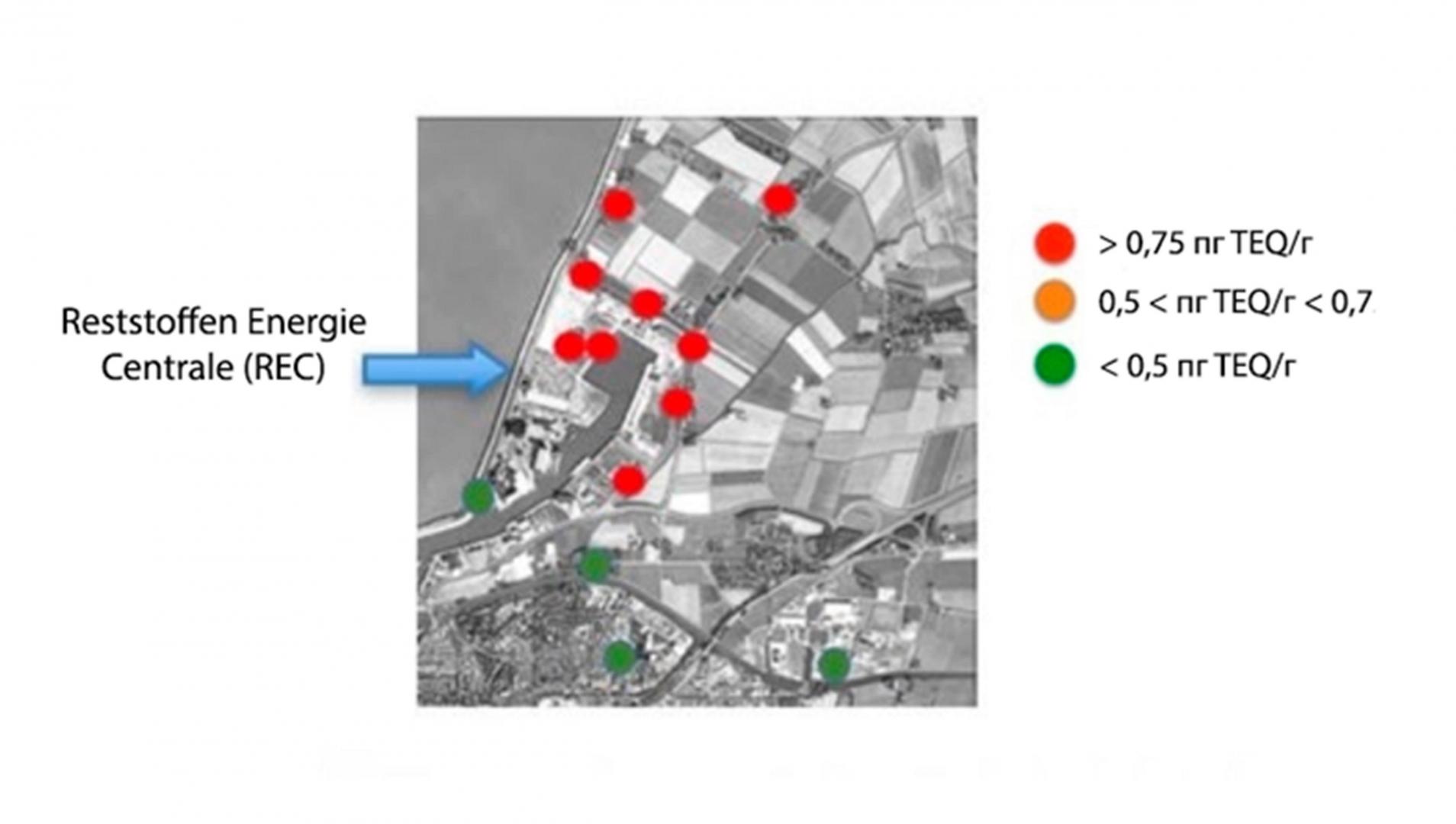 Рис. 2. Диоксиновые отложения на травяном покрове в окрестностях REC