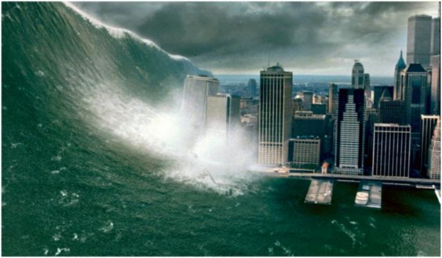 Кадр из американского фильма-катастрофы 1998 года «Столкновение с бездной» (Deep Impact), в котором США и Россия пытаются предотвратить столкновение Земли с кометой