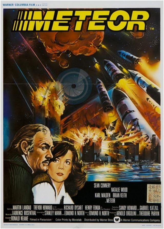 Рекламный плакат американского фильма-катастрофы «Метеор» 1979 года, в котором США и СССР пытаются уничтожить приближающуюся к Земле комету с помощью ядерных ракет