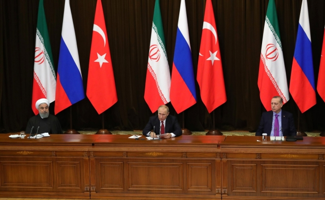 Президент России Владимир Путин, Президент Ирана Хасан Рухани и Президент Турции Реджеп Тайип Эрдоган