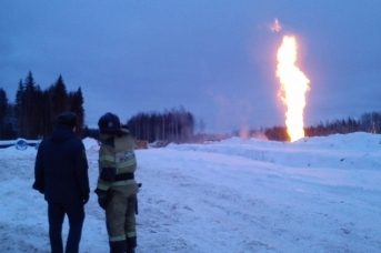 Пожар на газопроводе в Ленобласти