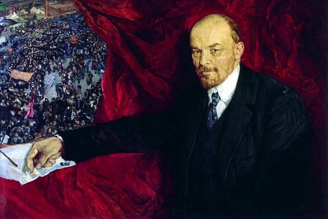 Исаак Бродский. В. И. Ленин и манифестация. 1919