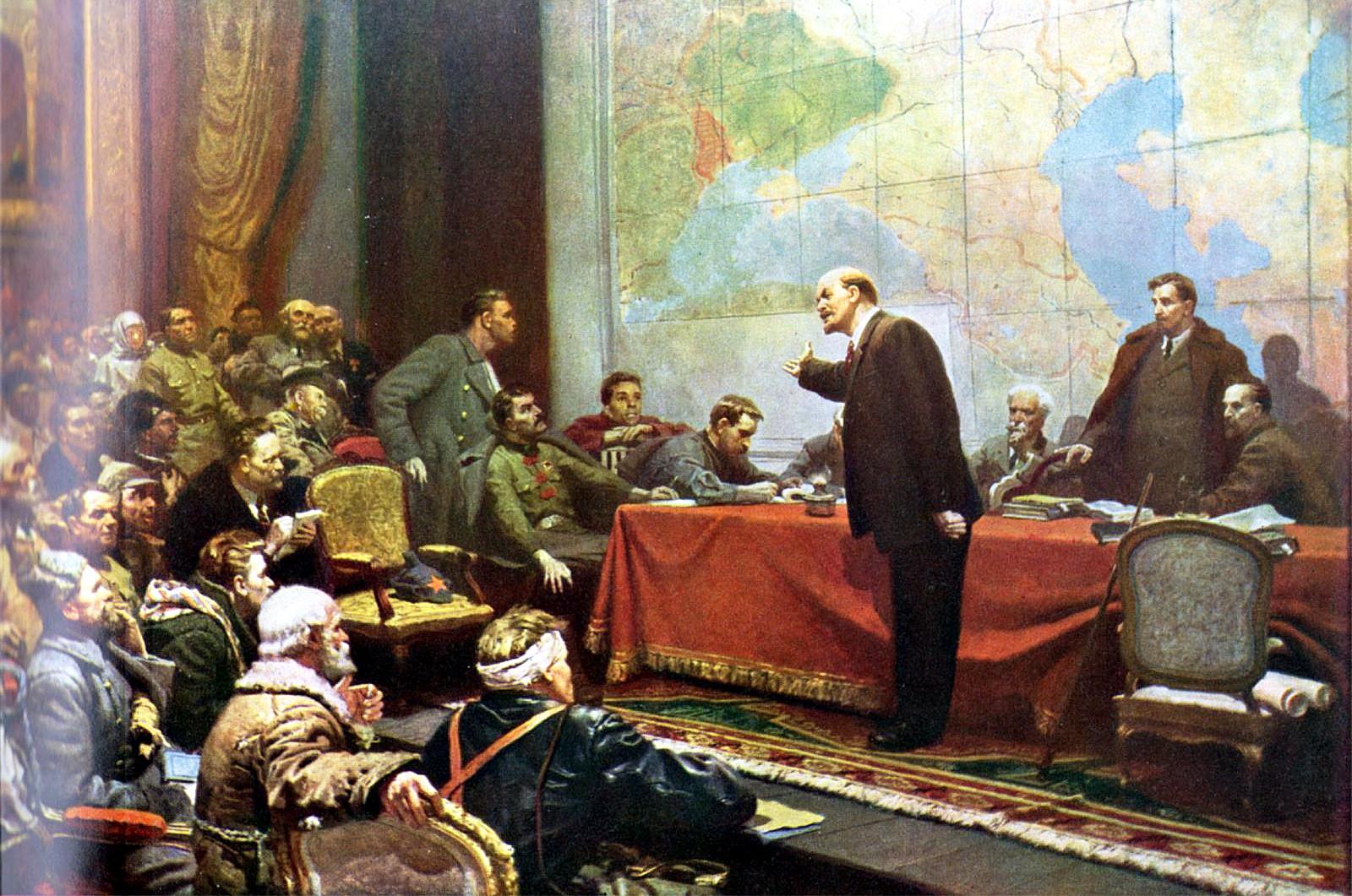 Леонид Шматько В.И.Ленин у карты ГОЭЛРО. VIII Всероссийский съезд Советов, декабрь 1920 года. 1957