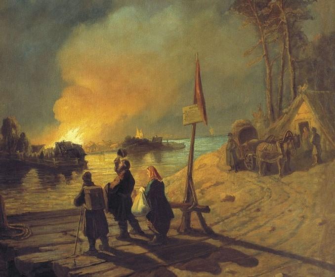 Леонид Соломаткин. Пожар в деревне. (фрагмент). 1877