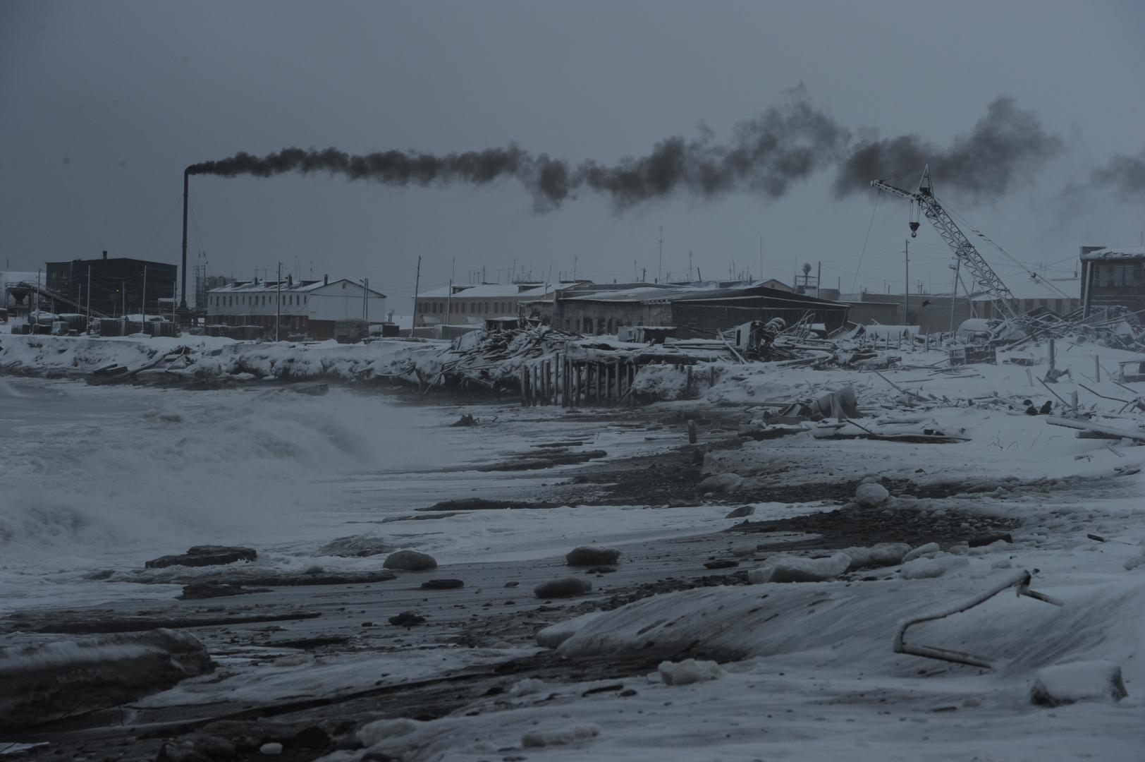 Национальный чукотский посёлок Рыркайпий – панорама со стороны мыса Кожевникова