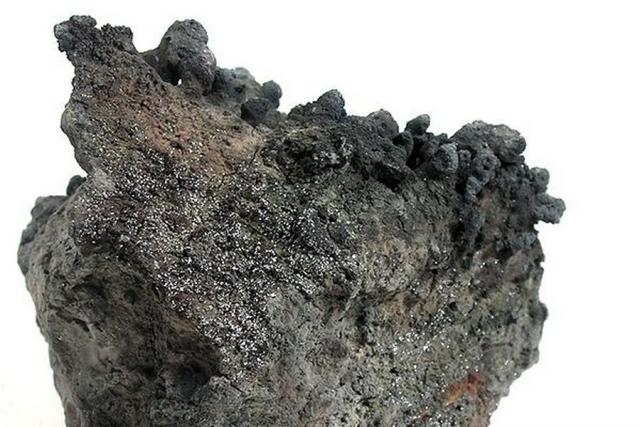 Рениит с застывшей лавой на обратной стороне. Вулкан «Кудрявый»