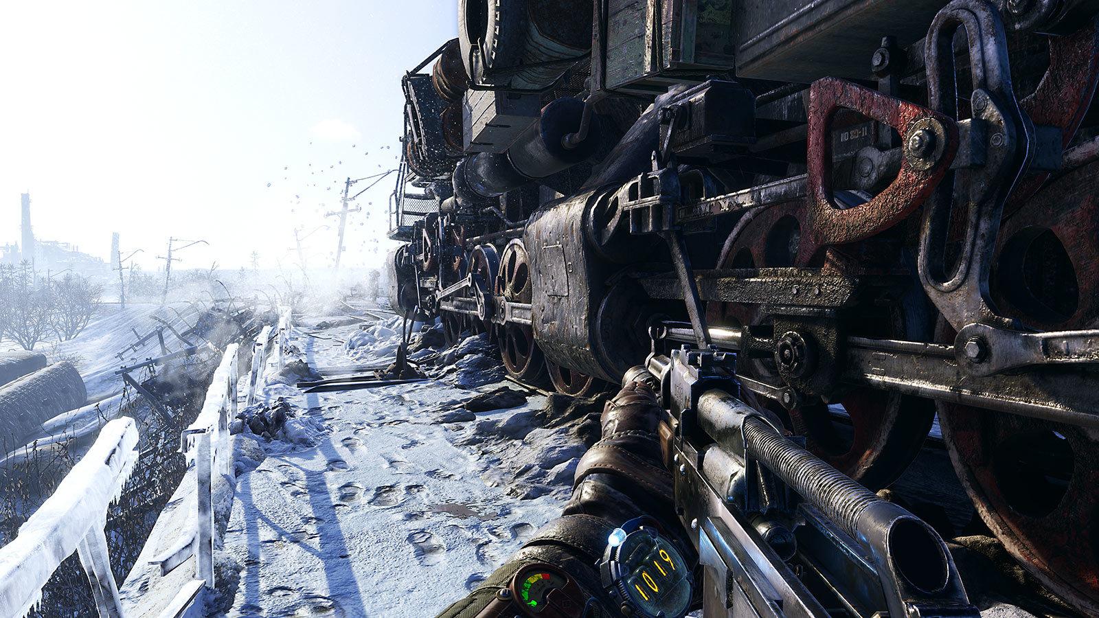 Следы рядом с локомотивом