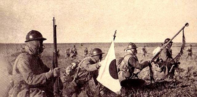 Наступление японской пехоты в Манчжурии. 4 ноября 1931 года