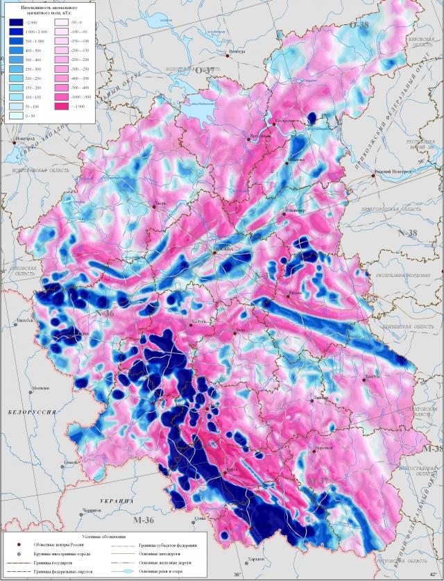 Рис. 1. Магнитные аномалии в Центральном федеральном округе России