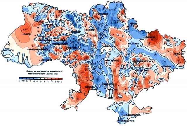 Рис. 2. Карта аномального магнитного поля Украины