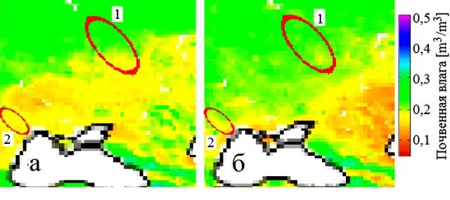 Рис. 9. Средняя влажность почвы полученных от комбинации шести активных и пассивных датчиков в период 1979–2010 гг. 1 — регион КМА, 2 — магнитная аномалия в центре Одесской обл. (a – май, b – июль)