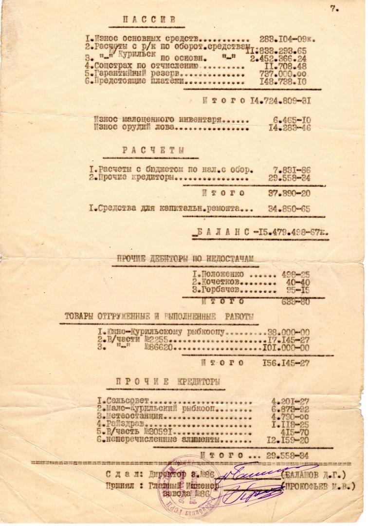 Акт приемки-сдачи завода № 86. Пос. Зеленовск. 1.12. 1954 г.. Страница 7
