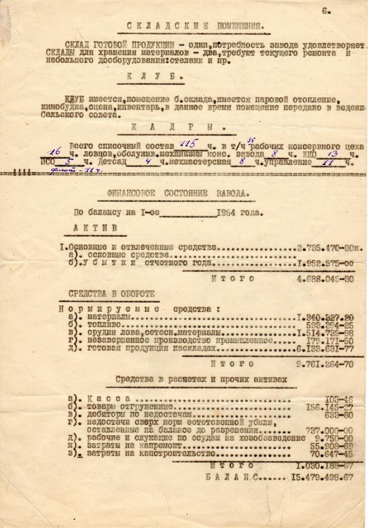 Акт приемки-сдачи завода № 86. Пос. Зеленовск. 1.12. 1954 г.. Страница 6