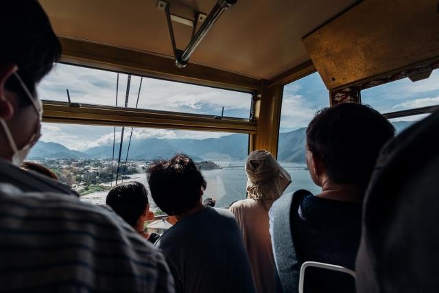 Канатная дорога Качи-качи над озером Кавагути