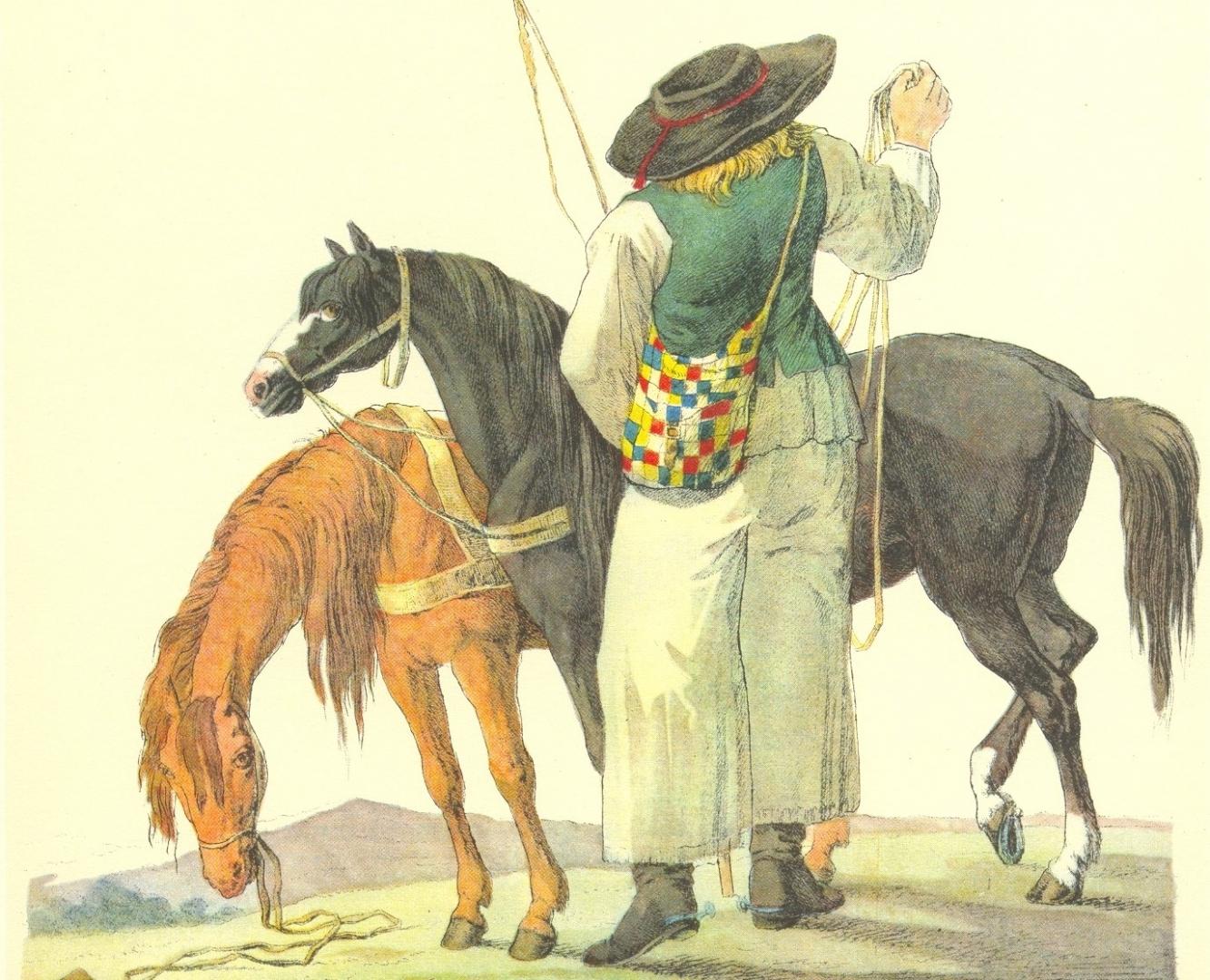 Jozsef Bikkessy Heinbucher. Венгр с двумя лошадьми (фрагмент). 1816 год