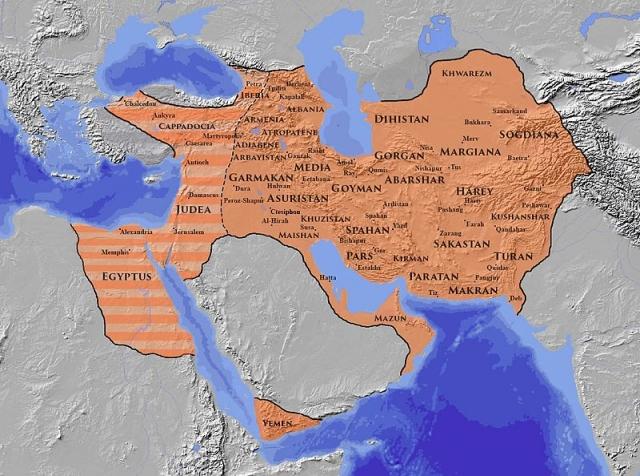 Сасанидская империя в период наибольшей экспансии 619-629 гг.