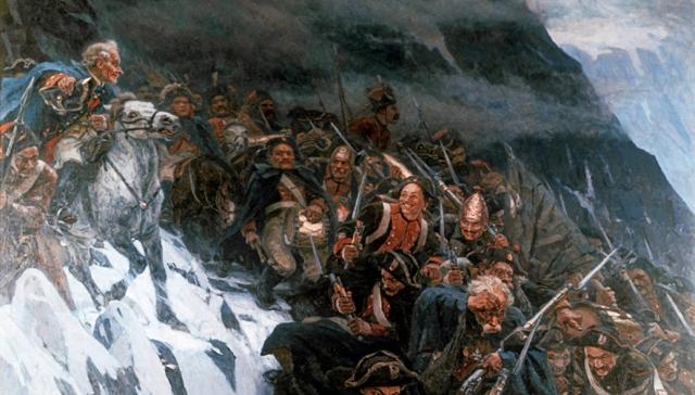 Василий Суриков. Переход Суворова через Альпы. 1899 (фрагмент)