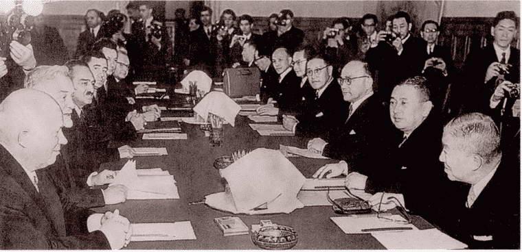 Советская делегация во главе с Н.С. Хрущёвым на советско-японских переговорах. 1956 г