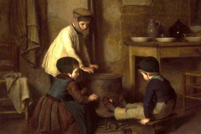Пьер Эдуар Фрер. Холодный день (фрагмент). 1858