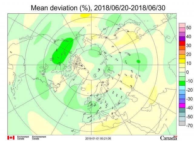 Рис. 3. Среднедекадные (11-20июня 2018 г.) аномалии общего содержания озона в Северном полушарии